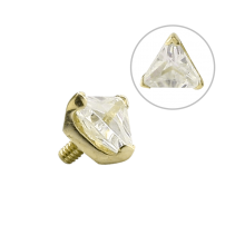 14K Gold Prong Set Triangle Jewelled Attachment (For 1.6 Internally Threaded Jewelry)