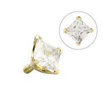 14K Gold Prong Set Square Jewelled Attachment (For 1.6 Internally Threaded Jewelry)