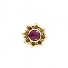 14K Gold Attachment with Ruby (For 1.2mm Internally Threaded Jewelry)