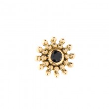 14K Gold Attachment with Black Swarovski (For 1.6mm Internally Threaded Jewelry)