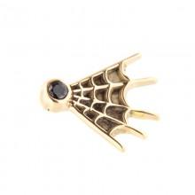 14K Gold Web Attachment with Swarovski Crystal (For 1.6mm Internally Threaded Jewelry)