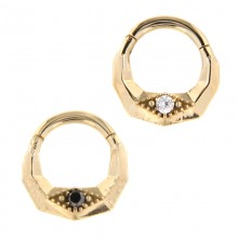 14K Gold Septum Clicker with Diamond