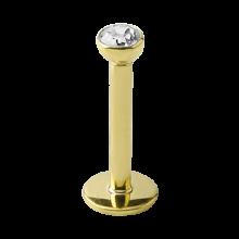 18K Gold Internally Threaded Bezel Set Jewelled Micro Labret (2.5mm Attachment)
