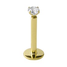 18K Gold Internally Threaded Prong Set Jewelled Micro Labret (2.5mm Attachment)