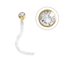 Bioplast® Nose Stud with 18K Gold and Swarovski (1.85mm Attachment)