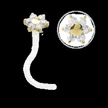 Bioplast® Nose Stud with 18K Gold and Swarovski Flower