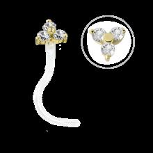 Bioplast® Nose Stud with 18K Gold and Swarovski Trinity
