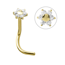18k Gold Flower Nose Stud with Cubic Zirconia