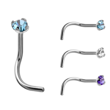 18k White Gold Prong Set Jewelled Nose Stud (1.5mm Attachment)