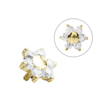 18K Gold Internal Attachment 5mm Prong Set Swarovski Flower (For 1.2/1.6 Internally Threaded Jewelry)