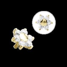 18K Gold Internal Attachment 5mm Prong Set Swarovski Flower (For 1.2/1.6 Internally Threaded Jewelry)