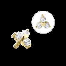 18K Gold Internal Attachment 4mm Prong Set Swarovski Trinity (For 1.2/1.6 Internally Threaded Jewelry)