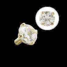 18K Gold Internal Attachment 3mm Prong Set Swarovski Gem (For  1.2/1.6 Internally Threaded Jewelry)