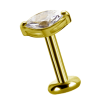 18K Gold Attachment with Marquise Shape Swarovski Crystal (For 1.2mm Internally Threaded Jewelry) Sfere e Componenti