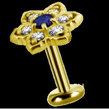 18K Gold Flower Attachment with Swarovski Crystal and Topaz (For 1.2mm Internally Threaded Jewelry)