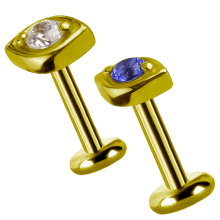 18K Gold Attachment with Swarovski Crystal (For 1.2mm Internally Threaded Jewelry)