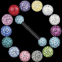 Black Titanium Barbell with Crystal Balls