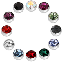 Micro Jewelled Balls with Swarovski Crystal (Big Stone)