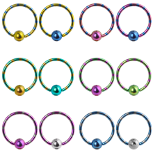 Anodized Double Tone Titanium Ball Closure Ring
