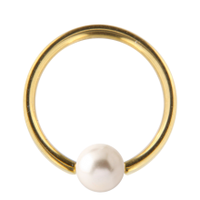 Gold Titanium Ball Closure Ring with Natural Pearl