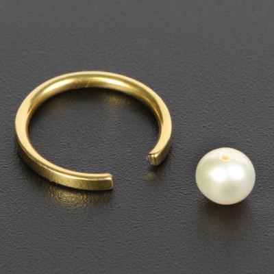 Gold Titanium Ball Closure Ring with Natural Pearl Ear