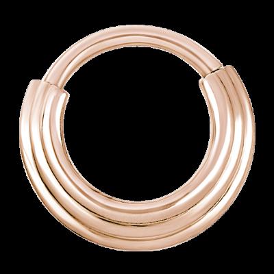 Rose Steel Hinged Ring 3 Rings Concave Shape Septum
