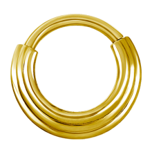 Gold Steel Hinged Ring 3 Rings Concave Shape