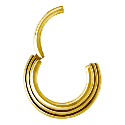 Gold Steel Hinged Ring 3 Rings Concave Shape Septum