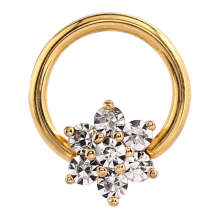 Surgical Steel Gold Plated Prong Set Flower Jewel Closure Ring