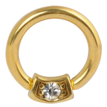 Surgical Steel Gold Pvd Round Jeweled Ball Closure Ring