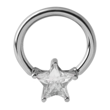 Surgical Steel Prong Set Star Jewel Closure Ring