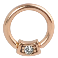 Surgical Steel Rose Gold Pvd Round Jeweled Ball Closure Ring