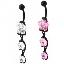 Black Steel Bananabell with Triple Flower Cubic Zirconia Prong Set Pendent