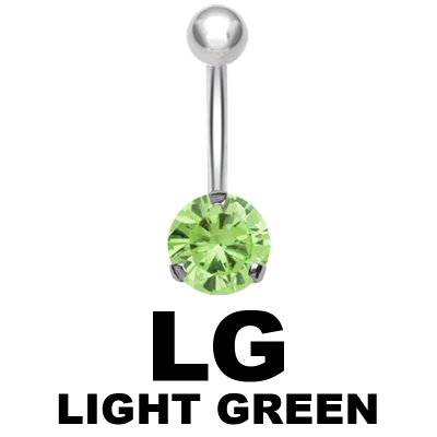 Steel Bananabell with 10mm Round Cubic Zirconia Navel