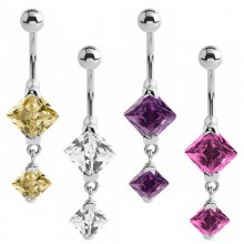 Steel Bananabell with Square Cubic Zirconia Prong Set