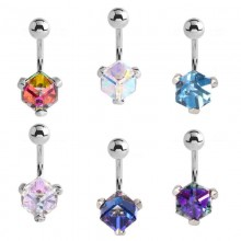 Steel Bananabell with Cube Cubic Zirconia Prong Set