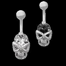 Steel Bananabell with Cubic Zirconia Skull
