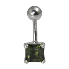Surgical Steel Bananabell with Moldavite - Square Cut