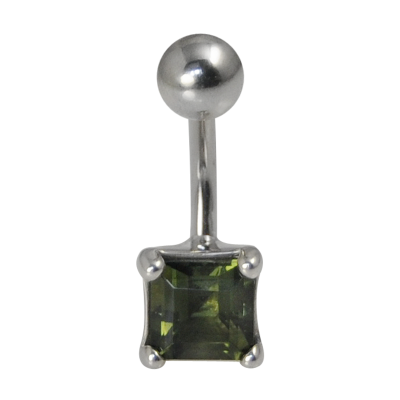Surgical Steel Bananabell with Moldavite - Square Cut Navel