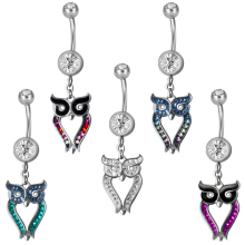 Steel Dangling Double Jewelled Bananabell with Owl (Gloss Finish)