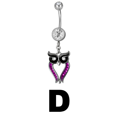 Steel Dangling Double Jewelled Bananabell with Owl (Gloss Finish) Navel