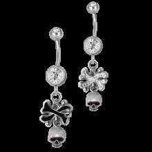 Steel Dangling Double Jewelled Bananabell with Skull & Cross Bone