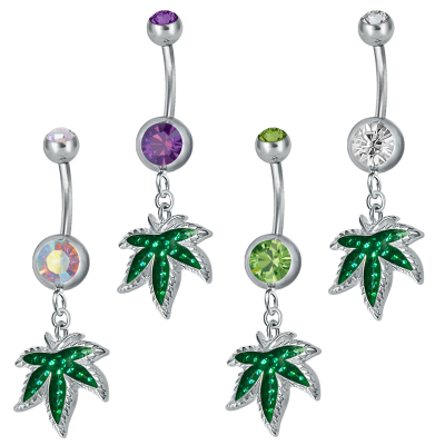 Steel Dangling Double Jewelled Bananabell with Ganja (Gloss Finish) Navel
