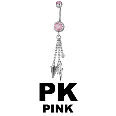 Steel Dangling Double Jewelled Bananabell with Flash Navel