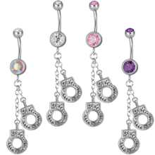Steel Dangling Double Jewelled Bananabell with Handcuffs