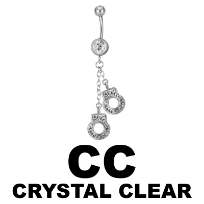 Steel Dangling Double Jewelled Bananabell with Handcuffs Navel