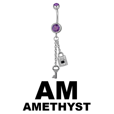 Steel Dangling Double Jewelled Bananabell with Key-Lock Navel