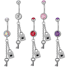 Steel Dangling Double Jewelled Bananabell with Key-Lock