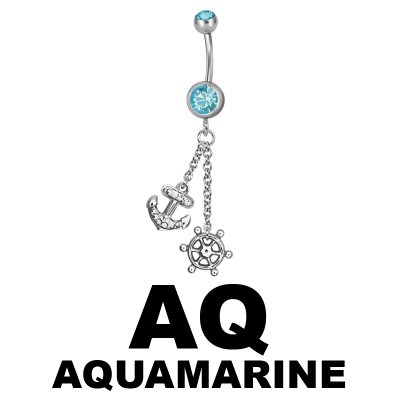 Steel Dangling Double Jewelled Bananabell with Anchor Navel