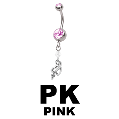 Steel Dangling Double Jewelled Bananabell with Heart Navel